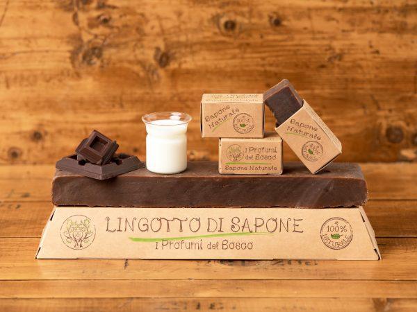 Lingotto di sapone naturale al latte d'asina e cioccolato
