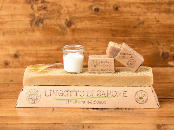 Lingotto di sapone naturale al latte d'asina e miele