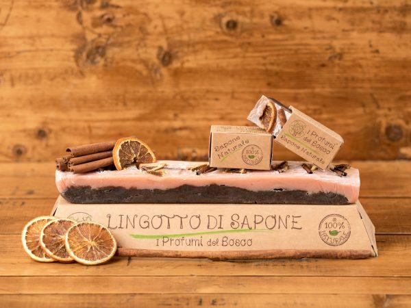 Lingotto di sapone naturale all'arancia dolce e cannella